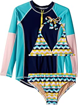 Toobydoo Fun Pattern Bikini & Rashguard Set (Infant/Toddler/Little Kids/Big Kids)