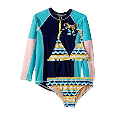 Toobydoo Fun Pattern Bikini Rashguard Set (Infant/Toddler/Little Kids/Big Kids) (Multi) Girl