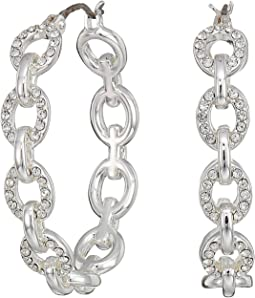 Crystal Pave Link Hoop Earrings