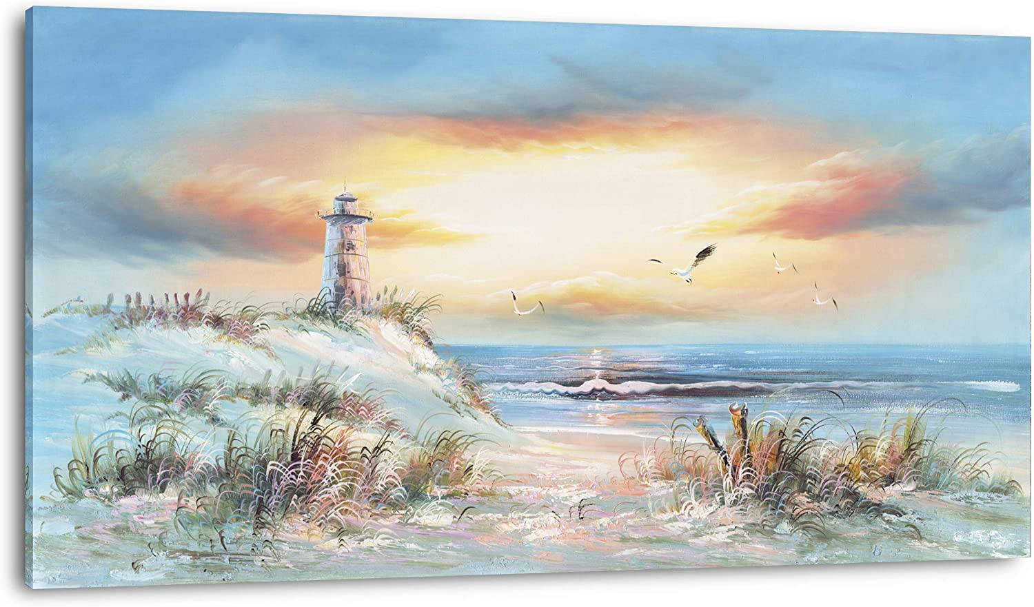 Extra Large Coastal Poster Printed Lighthouse Max Financial sales sale 69% OFF Sunset Landscape O