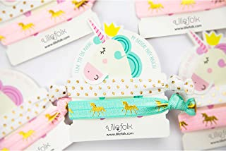Unicorn Hair Ties and Bracelet Party Favors - 8 Pack (16 pieces) – Girls Birthday Party - Premium Quality and Unique Design