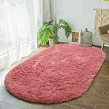 Terrug Fluffy Area Rug for Bedroom Living Room,Soft Oval Girls Rugs for Kids Room Baby Nursery,Dirty Pink Carpet for Dorm ...