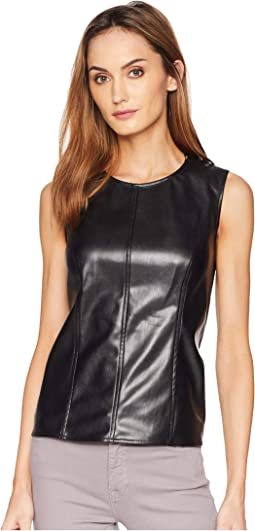 Sleeveless Knit Back Pleather Shell