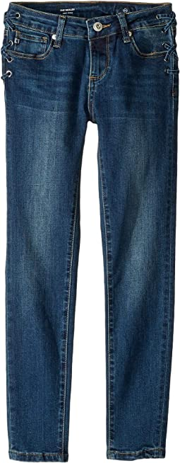 Laced-Up Super Skinny Jeans in Mellow Blue (Big Kids)