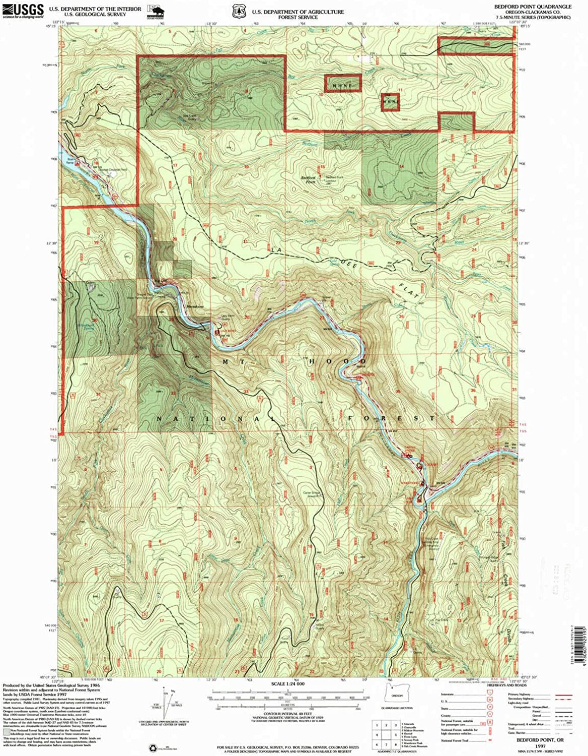 Bedford Point OR topo map, 1 24000 Scale, 7.5 X 7.5 Minute, Historical, 1997, Updated 1999, 26.8 x 22 in