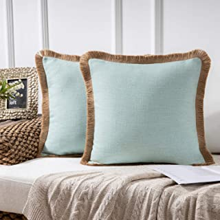 Phantoscope Farmhouse Decorative Throw Pillow Covers Linen Tassel Trimmed Fall Outdoor Pillow Decor Water Blue, Pack of 2 18 x 18 inches, 45 x 45 cm
