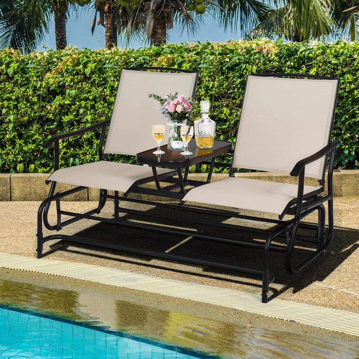2-Person Outdoor Glider Chair with Center Table Double Rocking Chair Loveseat for Patio Backyard Poolside Lawn Safstar Patio Glider Bench Beige