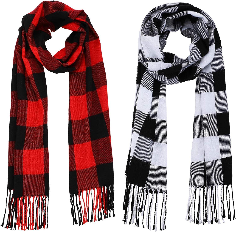 2 Pieces Warm Tartan Sale price Plaid Checked Wraps Dallas Mall Women Winter and Scarf
