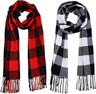 2 Pieces Warm Tartan Plaid Checked Women Winter Scarf and Wraps Unisex