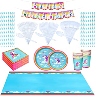 JIA Legacy Unicorn party supplies set - 130 pc of premium quality disposable rainbow birthday party supplies for a truly m...