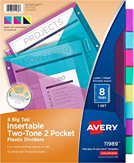 Avery 8 Tab Plastic Binder Dividers with Pockets, Two Tone, 1 Set (11989)