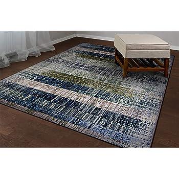 Amazon Com Couristan Easton Distress Plank Area Rug 5 3 X 7 6 Moss Denim Furniture Decor