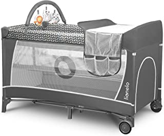 Lionelo Flower lit bebe parc bebe deux hauteurs de matelas entrée latérale barre avec jouets table à langer sûre sac de tr...