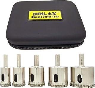 Best Drilax Diamond Hole Saw Drill Bit 5 Pcs Set Long 3/4 1 1-1/4 1-1/2 1-3/4 Inch Ceramic Porcelain Tile Glass Granite Slate Insert Guide Included Review