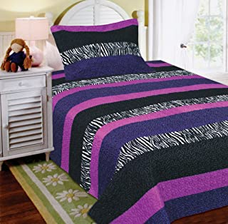 Mk Collection 2 Pc Bedspread Teens/girls Zebra Leopard Purple Pink White Black Twin Size