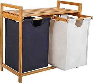 kksmile Panier à linge en bambou - 3 compartiments - Trié - Avec 2 sacs à linge extensibles - Dimensions : env. 70 x 67 x ...