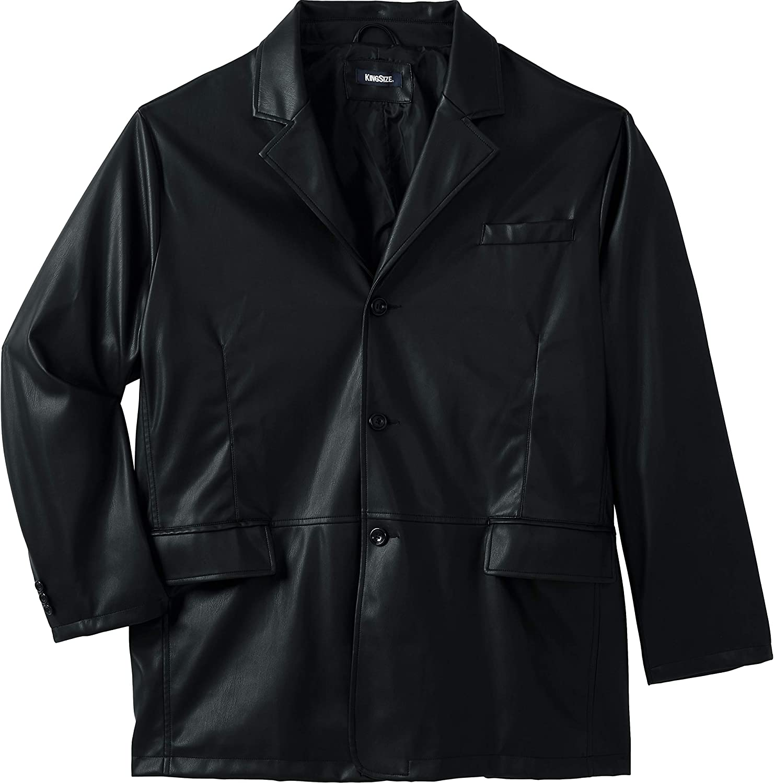 KingSize Men's Big & Tall Three-Button Faux Leather Blazer