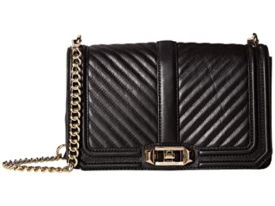 Rebecca Minkoff Chevron Quilted Love Crossbody (Black 1) Cross Body Handbags