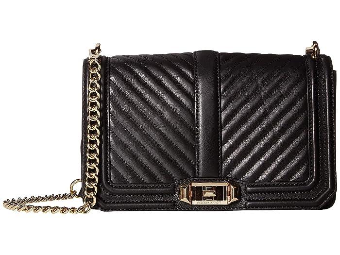 Chevron Quilted Love Shoulder bag leather black