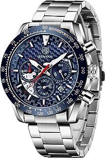 CEYADG BENYAR Men Watch Fashion Chronograph Analog Quartz 30M Waterproof Business Casual Sport Mesh Band Wrist Watch Clock Timepiece Gifts for Father,Son,Friend