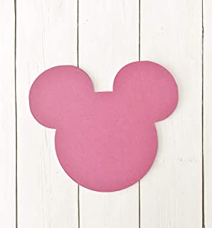 Hot Pink Mickey Mouse Head 5x5 Die Cut Place Card Food and Name Labels 20 Pieces