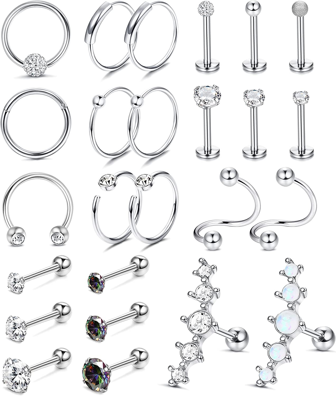 LOYALLOOK 25Pcs Cartilage Earrings Hoop Studs for Women Men 316L Stainless Steel CZ Lip Rings Labret Studs Helix Tragus Earrings Conch Daith Piercings Jewelry
