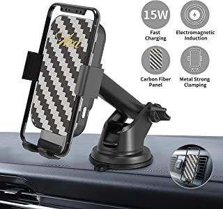 Wireless Car Charger, AXD 15W Car Phone Holder Fast Charging Automatic Clamping, Metal Materials Car Charger Mount Compatible with iPhone 8 Plus/ 8/ X/XR/XS, Samsung S10/ S9/ S8/ S7 (Black)