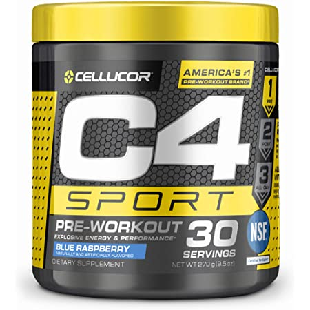 C4 Sport Pre Workout Powder Blue Raspberry - NSF Certified for Sport + Preworkout Energy Supplement for Men & Women - 135mg Caffeine + Creatine Monohydrate - 30 Servings