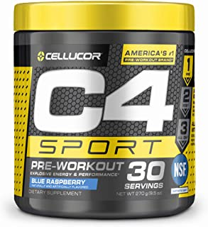 C4 Sport Pre Workout Powder Blue Raspberry - NSF Certified for Sport + Sugar Free Preworkout Energy Supplement for Men & Women - 135mg Caffeine + Creatine - 30 Servings