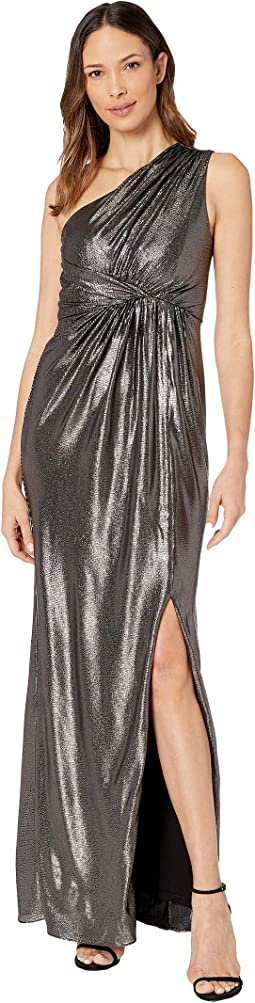 Metallic Waffle Knit One Shoulder Draped Column Gown