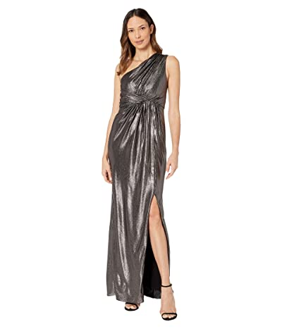 Adrianna Papell Metallic Waffle Knit One Shoulder Draped Column Gown (Black/Gunmetal) Women