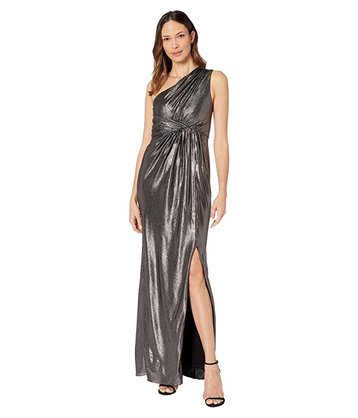 70s Prom, Formal, Evening, Party Dresses Adrianna Papell Metallic Waffle Knit One Shoulder Draped Column Gown BlackGunmetal Womens Dress $189.00 AT vintagedancer.com