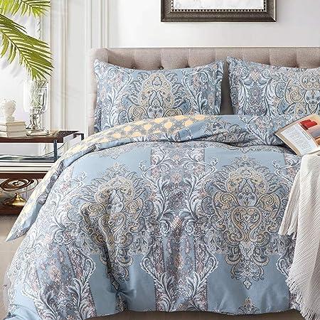 Duvet Covers Sets Cotton Queen Luxury Paisley Damask Medallion -1000TC Egyptian Cotton Duvet Cover- Reversible Percale Weave Comforter Cover Set-3pcs Soft Breathable Bedding(Queen,Light Blue Floral)…