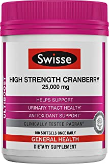Swisse Ultiboost High Strength Cranberry Supplement | Urinary Tract Health Support | 25, 000 mg, 100 Softgel Tablets