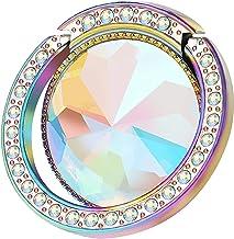 lenoup Iridescent Glitter Bling Bling Phone Ring Holder,Sparkle Phone Ring Artificial Diamond Stand,Rhinestone Cell Phone Finger Ring(Rainbow)