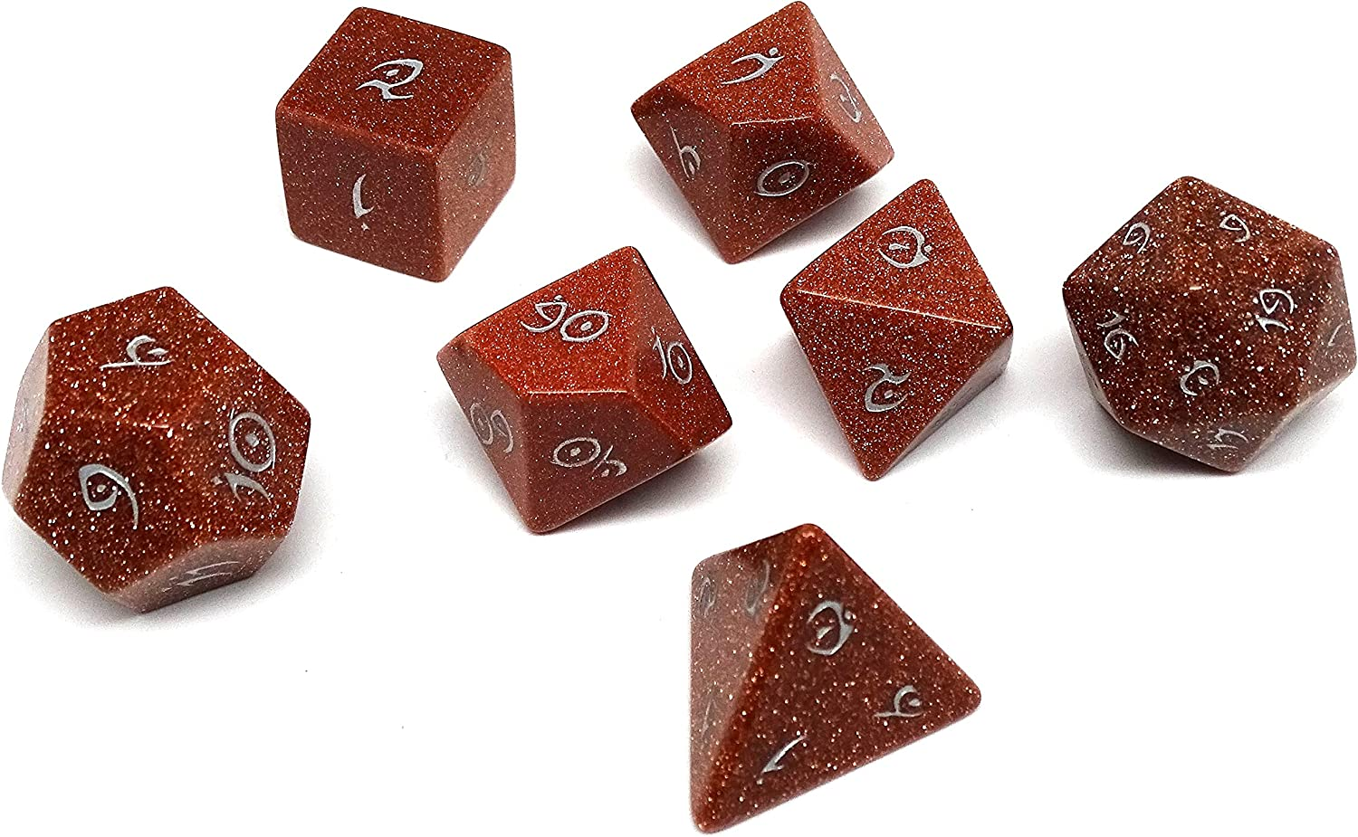 7 Piece Collection of Semi Precious Stone Dice with Elvenkind Font ...
