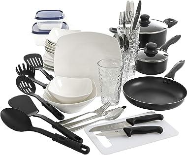 Gibson Home Zen Buffet All U Need Dinnerware Set, (45pcs), White (Square)
