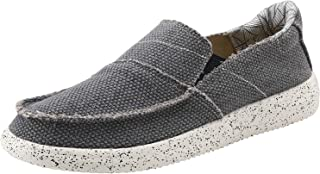 VILOCY Men's Casual Boat Shoes Canvas Slip on Loafer Outdoor Sneakers Cloth Walking Flats