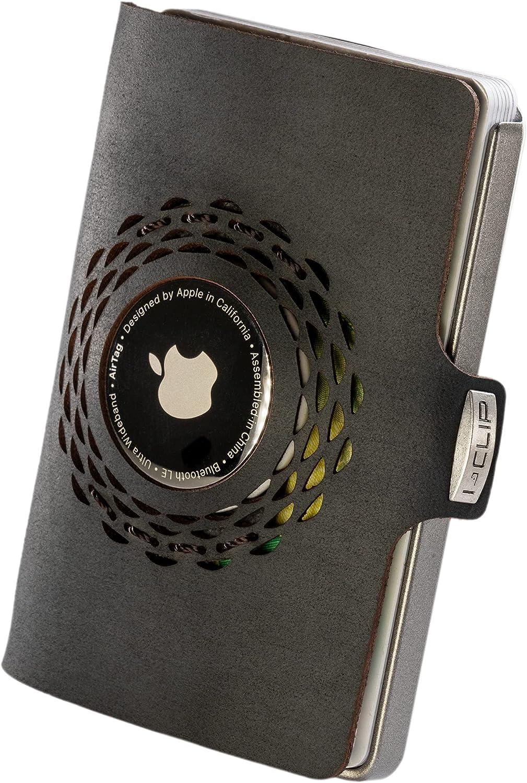 I-CLIP Original Silver Radio Impact Black, Compatible con Apple AirTag *, Cartera, Billetera, Monedero