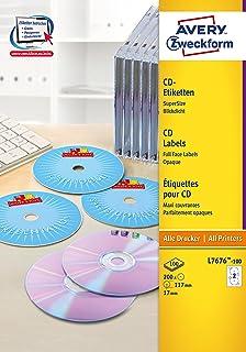/Ø 117 mm Bianco Etichette Adesive A4 per Stampante 2 Etichette per Foglio TopStick Etichette per CD