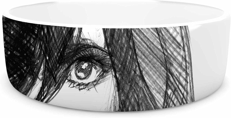 KESS InHouse Maria Bazarova Self Portrait  Balck White Pet Bowl, 7