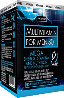 Actif Organic Multivitamin for Men Age 30+ with 30 Organic Vitamins and Organic Herbs, Non-GMO, Made in USA, 90 Count