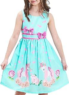 Girls Dress Purple Rose Flower Double Bow Tie Party Kids Sundress Age 4-12 Years