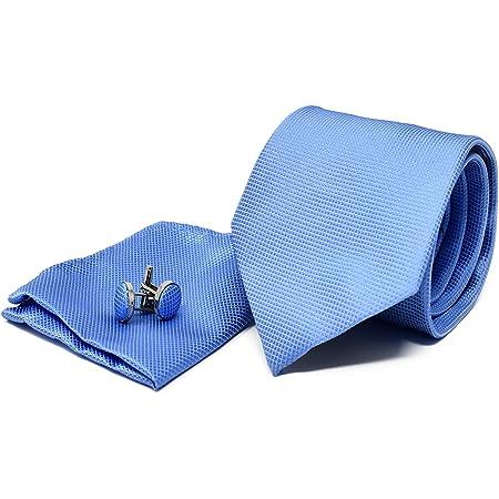 Corbata de hombre, Pañuelo de Bolsillo y Gemelos Azul Claro - 100% Seda - Clásico, Elegante y Moderno - (Caja y Conjunto de Regalo, ideal para una ...
