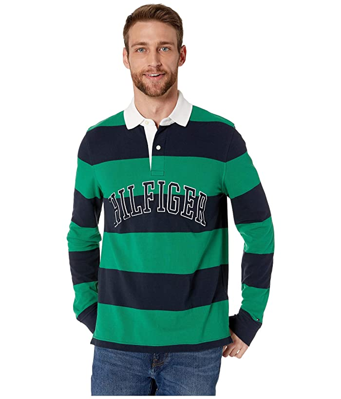 Tommy Hilfiger Adaptive  Magnetic Long Sleeve Button Down Shirt in Custom Fit (Verdant Green) Mens Clothing