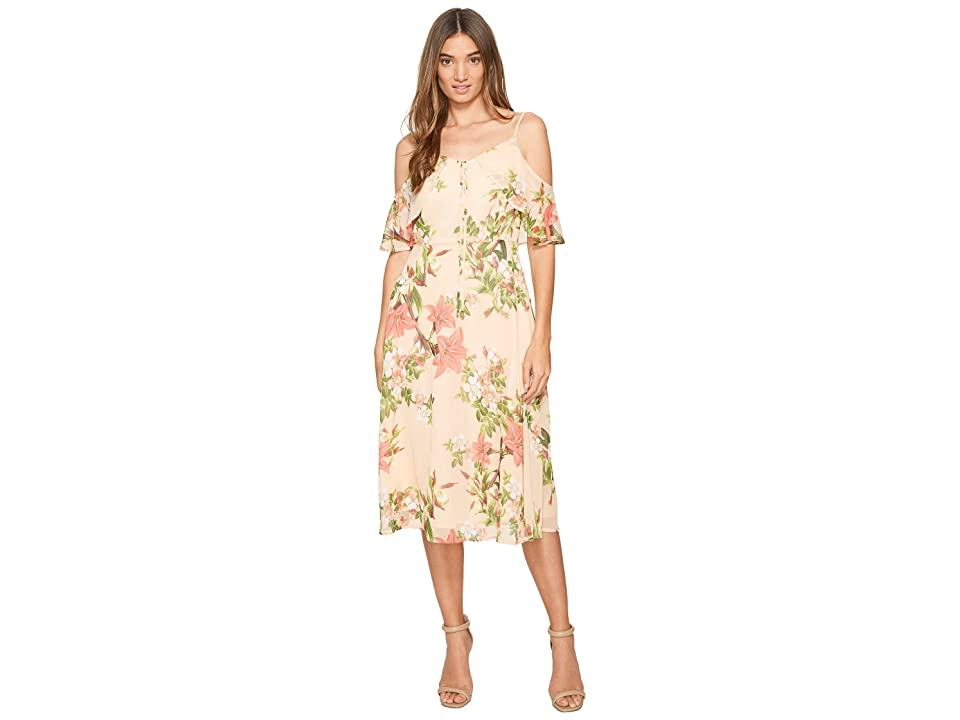 CeCe Alice Cold Shoulder Floral (Whisper Peach) Women