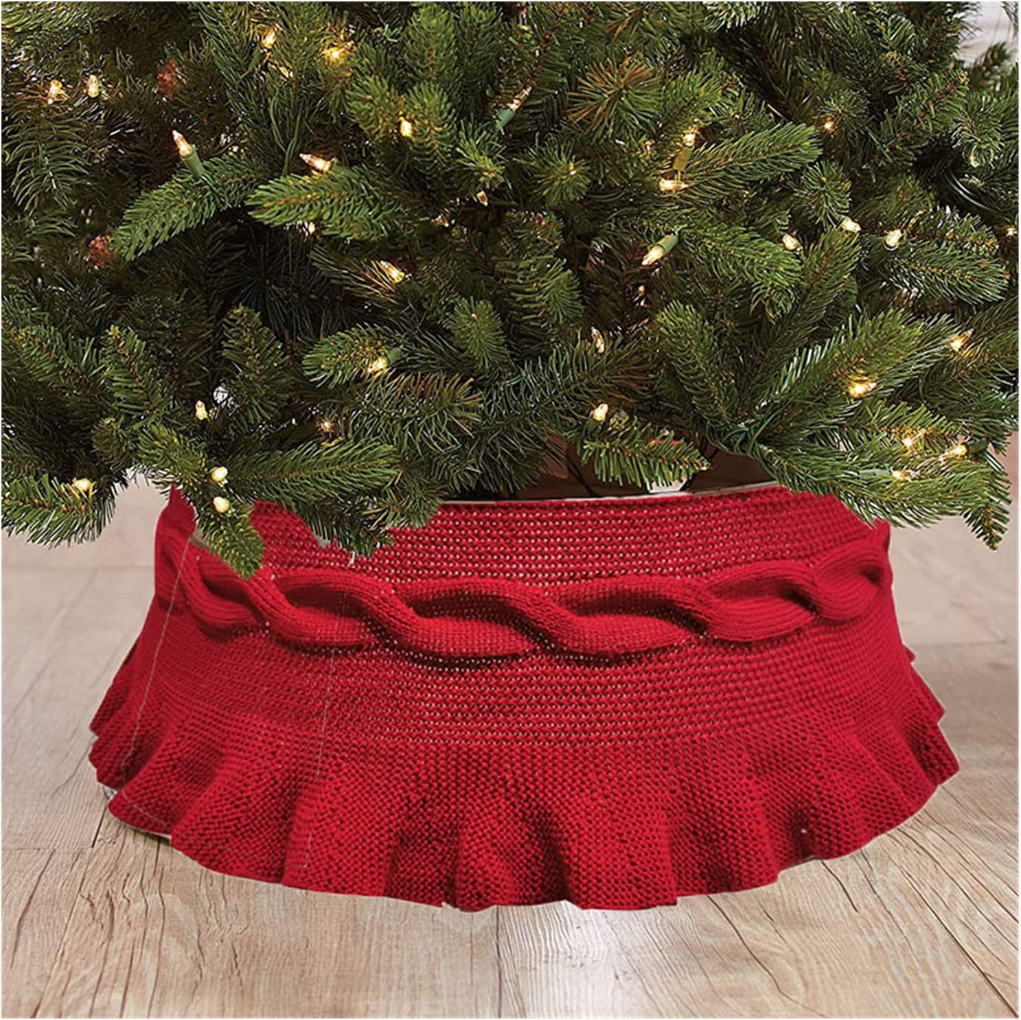 YOGANHJAT Christmas Tree Skirt 3D Xmas Knitting In a popularity Chris Direct stock discount