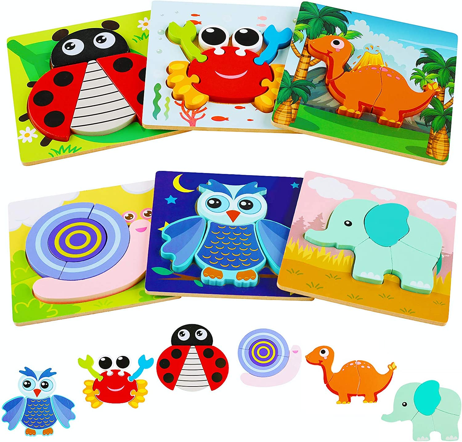 Kesletney Wooden Jigsaw Puzzles for Toddlers, 6 Pack Animal Puzz