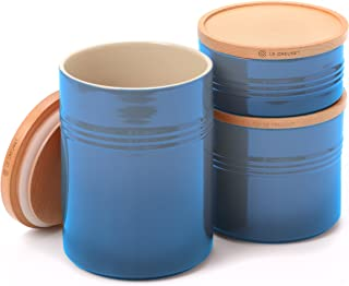 Le Creuset Marseille Stoneware 3 Piece Canister with Wooden Lid Set