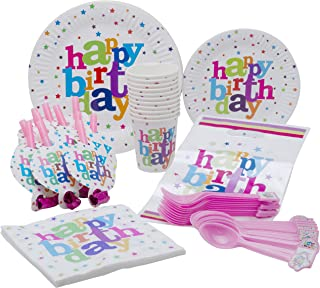 Polka Dot Happy Birthday Theme Party Pack - Disposable Paper Plates, Cups, Napkins, Forks, Spoons, Gift Bags and Party Blowers - Serves 10